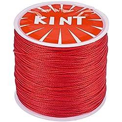Rollo 116 Yardas 0.5 mm Cordón rojo de algodón Encerado para Macramé