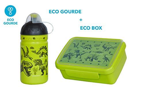 Wasser Flasche 0,5L Gesund Flasche® für Kinder, BPA-frei, ECO freundlich (Eco Set Dinosaurier)