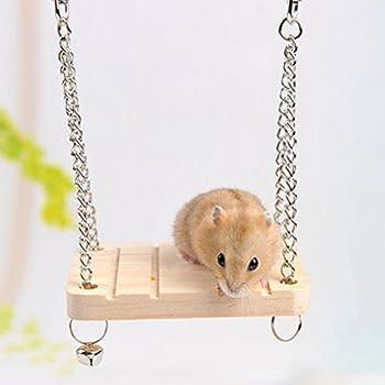 Kiao Balançoire Avec clochette en bois Jouets Pour Hamster Cochon D'inde Hérisson Chinchilla Swing Bell pour animal domestique