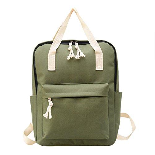 Neue Segeltuch-Normallack-Schulter-Beutel-einfacher Hochschulart-Rucksack Retro- Jungen-und Mädchen-Kursteilnehmer-Satz,Pink Green