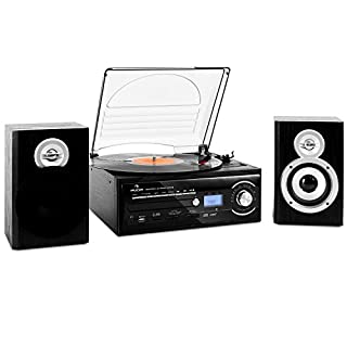 auna TT-190 stereo system • Record player • Vinyl turntable • Belt drive • Max. 45 RPM • 2-way speaker pair • Bass reflex • Radio tuner • USB port • Digitization function • Remote control • black