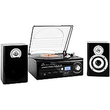 auna TT-190 Impianto stereo Hi Fi multifunzione (giradischi, mangianastri, lettore CD, MP3, vinili, cassette, USB (Ipod Impianto Stereo)