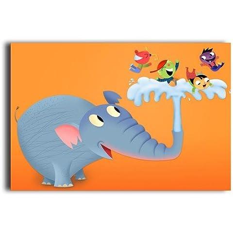 Cute Cartoon Elephant Wall Poster Da Parete Carta Custom Fashion (Birch Cabinet Office)