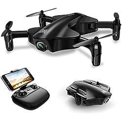 Potensic Drone Plegable con HD Camara, Drone Gran Angular, RC Quadcopter con WiFi FPV 2.4GHz, VR Control Remoto y Función de Posicionamiento de Flujo Óptico, Modo sin Cabeza, U29 Negro