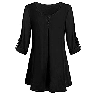 Women Navy Cardigan Fashion Plus Size T-Shirt Tunic Hem Shirt Top Bell Sleeve Blouse Long Sleeve T Shirt