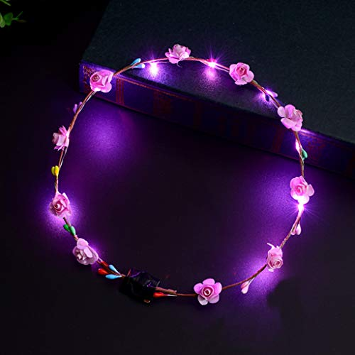VIccoo Frauen Mädchen LED leuchten Blume Stirnband blinkende Glow Crown Party Haar Kranz - Rosa