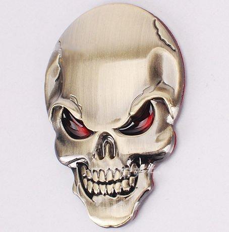 SKS Distribution® Or diable démon Masque de squelette crâne 3D autocollant de voiture Motif emblème Badge en