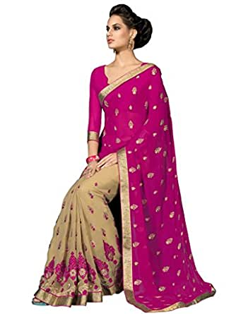 Desi Look women's georgette pink saree with unstitched blouse