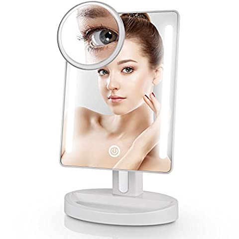 Miusco Lighted Tabletop Makeup Mirror with 15X Magnification Suction Cup Pocket Mirror, LED Arround, Rectangle, Dual Power