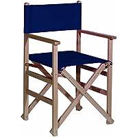 Mueblear 1001Regie-Stuhl, mit Leinwand und unlackiertem Holz 51,5x 46x 86cm Marineblau