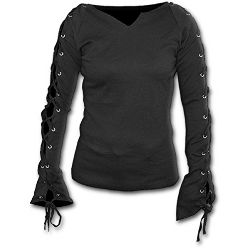 Spiral Direct Damen Gothic Elegance-Laceup Sleeve Top Black Langarmshirt, Schwarz 001, 46 (Herstellergröße: X-Large) -