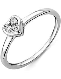 Miore Damen-Ring 375 Weißgold Herz mit Brillanten MF9001RM