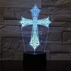 orangeww Lampe 3D Croix Meilleur cadeau Touch Sensor LED famille Night Light intérieur présente pour Noël/effet de lave tactile