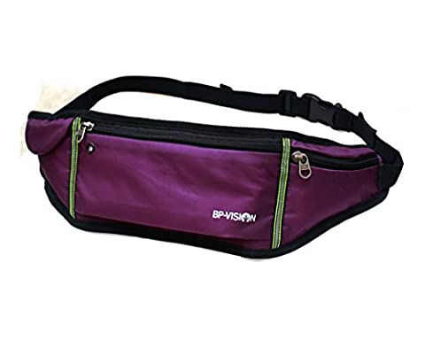 Aimashi Bumbag Running Belt Waistpack Fanny Pack Money Belt Runners Bag Black for Traveling Hiking Fit iPhone 7 Plus Galaxy S6 S7 Note 5/6 (purple)