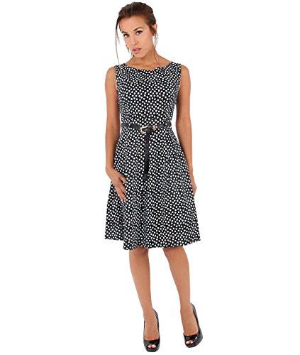 KRISP® Femme Robe Pin-Up 50s Rockabilly Imprimée Rétro Vintage Noir (7158)