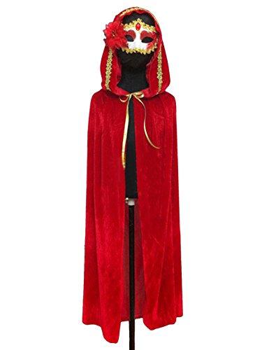 Unisex Halloween Kostüm Deko Ganzkörper Crushed Velvet Rollespielen Cape mit Kapuzen (Crushed Velvet Cape)