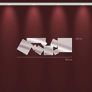 TENDANCE MIROIR M0036 Miroir carrés multiples allongés Synthétique Argent 75,5 x 23,5 x 0,3 cm