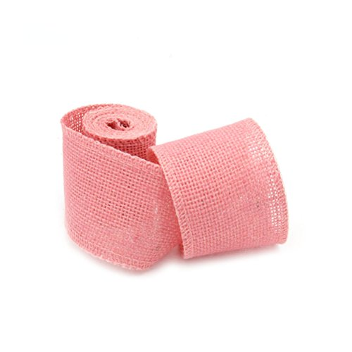 Pixnor Jute Jute Band Natural Hessian Craft Ribbon 2 m x 6 cm (Pink) -