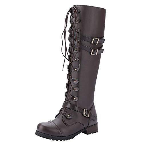 BANAA Women Military Combat Boots Steampunk Gothic Boots - Punk Buckle Shoes -Vintage Lightweight Boots