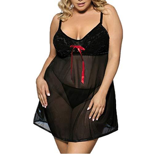 LILIHOT Plus Size Nachtwäsche Kleid New Sexy Womens Lace Bow Dessous Nachtwäsche Unterwäsche Damen Babydoll Spitze Dessous Gürtel Bademantel Nachtwäsche Unterwäsche Lace Bodysuit -