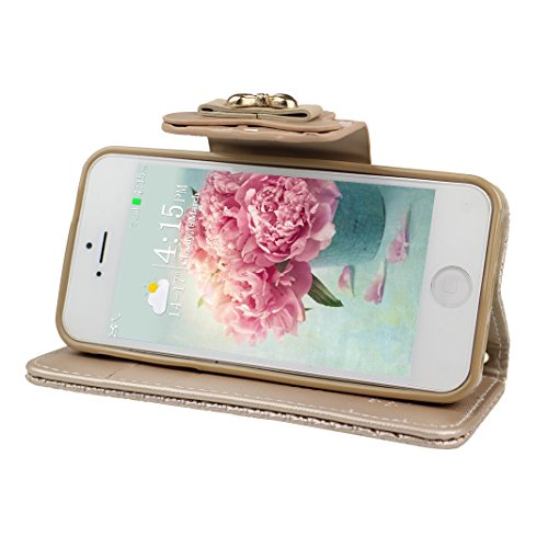Etui iPhone 6, Housse iPhone 6S, Coque iPhone 6/6S, HuaForCity Embossed PU Cuir TPU Frame Papillon Arc Fermeture Magnétique Fentes Portefeuille Support avec Chaîne Phone Case Cover Protection Peau Hol Or
