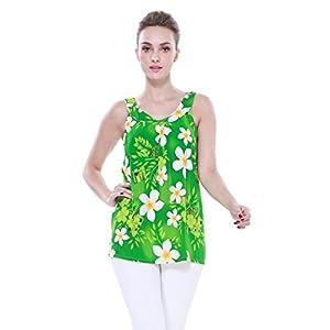 Mujeres-camiseta-con-capucha-floral-hawaiana-en-Plumeria-amarillo-del-corazn-con-la-hoja-verde