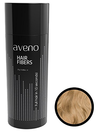 AVENO® Hair Fibers | 25g | Streuhaar zur Haarverdichtung | Das Schütthaar verdeckt Geheimratsecken, lichtes Haar und Haarausfall - Haarpuder (MITTELBLOND)