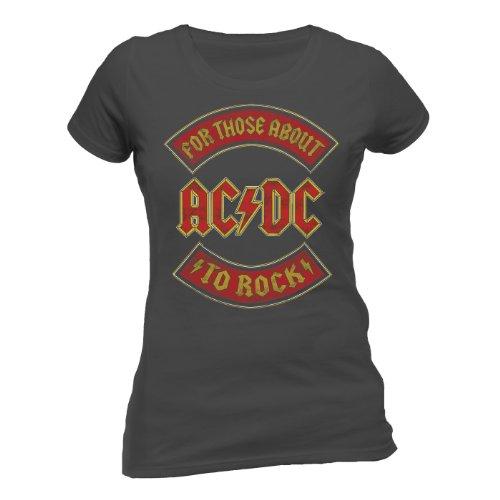 CID Damen T-Shirt AC/DC - about to Rock Banner Grau