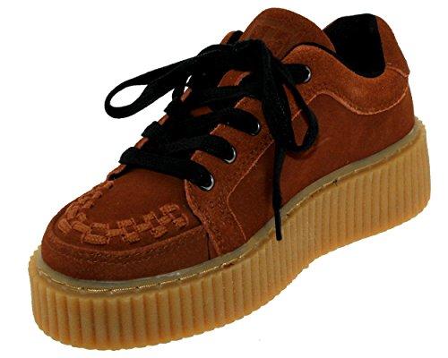 T.U.K. Cognac Camoscio Shoes Donna Interlacciato Casbah Creeper Marrone