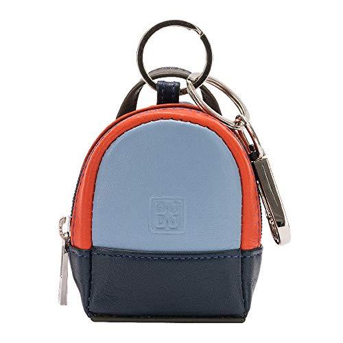 DUDU Mini-Rucksack Schlüsselanhänger farbig aus echtem Leder Multicolor mit Münzfach und Zwei Schlüsselringen Navy - Navy Leder Schlüsselanhänger