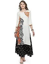 Varanga Orange Cotton Blend Printed Kurta With Palazzo SS16VARAMA11056_PZ21517