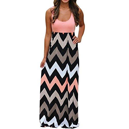 JYC Vestidos Largos, Vestidos Mujer Verano 2018 Mujer Rayado Largo Boho Vestido Lady Beach Verano Sundress Maxi Vestido de Talla Grande Vestidos Largos de Fiesta (XL, Naranja)