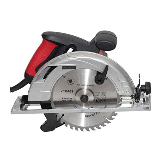 Digital Craft Aluminium Electric Circular Saws 1600 W Cutting Machine Wood Working Home Improvement Tools Handheld Tile Cutter (7 Inch, Red and Black)