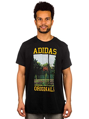 Herren T-Shirt adidas Originals Court Photo T-Shirt Black