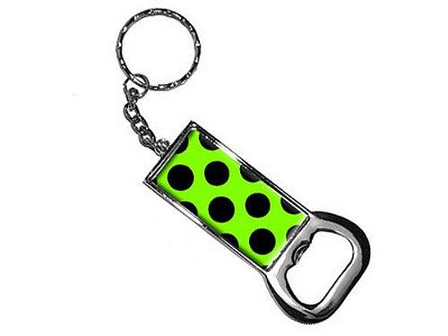 Polka Gepäck-tags Dots (Grafiken und mehr Ring Bottlecap Öffner Schlüssel Kette, Mega Polka Dots Schwarz Grün (KK1070))