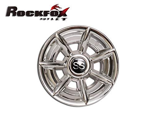 Rockfox amélioré 7 Spoke Brillant Chromé 25,4 cm SS Golf Cart Housses de Roue, durabilité hub Caps pour la Plupart des Chariots de Golf. Lot de 4.
