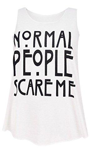 Janisramone Nouveau femme Tee shirt Slogan, Graphique Imprimé Sans Manche, T Shirt Été, haut sans manches Blanc - Normal Gens