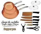 Maxell Power CE Juego DE 3 SARTENES 2 Tapas Cuchillos Tijeras Color Cobre Copper Pan Apto Horno