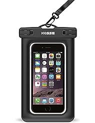 """Étui imperméable à l'eau flottante, Kosse Float CellPhone Sac à sac sec pour iPhone 7 6S 6,6S Plus, SE 5S, Samsung Galaxy S7, S6 Note 7 5 4, HTC LG Sony Motorola Motorola jusqu'à 6.0 """"diagonale - Noir"""