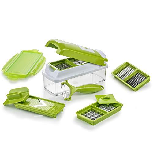 Genius Nicer Dicer Smart | 10 Teile | Gemüseschneider | Zwiebelschneider | Schneiden/Würfeln/Hobeln/Stifteln/Schälen/Aufbewahren | Mandoline | Multischneider | Gemüsehobel | Obstschneider | NEU