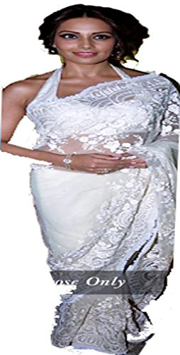 Sarees ( White Color NET,ROW SILK Fabric Heavy Work Saree, New Arrival...