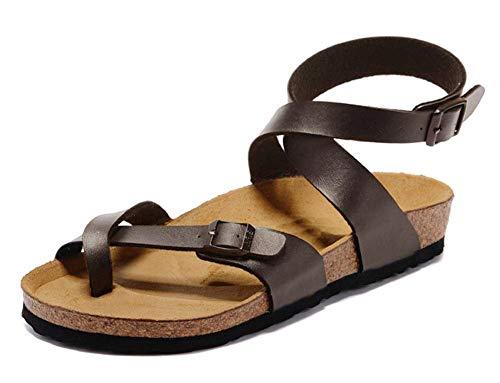 Minetom Sandali Estivi Donna Roma Piatto Casual Tacchi Bassi Clip Toe Sandal da Spiaggia Casuale Antiscivolo Marrone EU 37