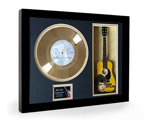 Bob Dylan Blowin In The Wind Framed Mini Gitarre & Goldene Schallplatte Disc Display (S) (Bob Dylan-gitarre Picks)