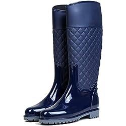 AONEGOLD Botas de Agua Mujer Botas de Lluvia Impermeable Altas Bota de Goma Wellington Boots Otoño e Invierno(Azul,39 EU)