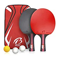 ATINUS Table Tennis Racket, PingPong Paddle Set with 2 Rubber Bats and 3 Ping Pong Balls and Table Tennis Paddle Case Perfect for Professional Recreational Games
