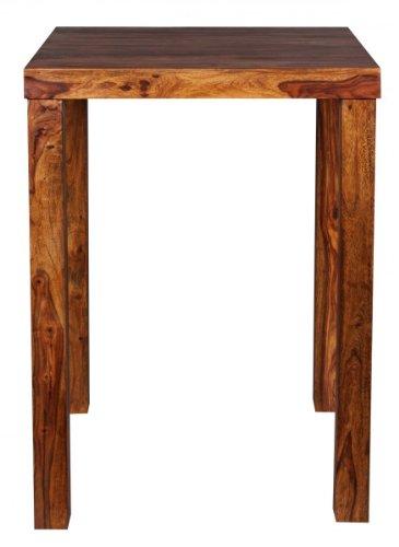 FineBuy Bartisch Massivholz Sheesham 80 x 80 x 110 cm Bistro-Tisch modern Landhaus-Stil Holz-Steh-Tisch quadratisch dunkel-braun Natur-Produkt Massiv-Holz-Möbel Hausbar Esstisch Echt-Holz unbehandelt - 3