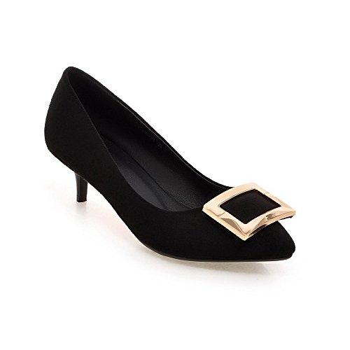 AgooLar Damen Rein Mattglasbirne Mittler Absatz Ziehen auf Spitz Zehe Pumps Schuhe, Armeegrün, 40