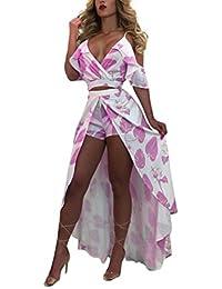 Blansdi Damen Sommer Elegant Spaghetti-Bügel V-Ausschnitt Strandkleid Floral Zweiteiler Kleider Sets Crop Tops A-linie Rock Abendkleid Cocktailkleid Clubwear Partykleid