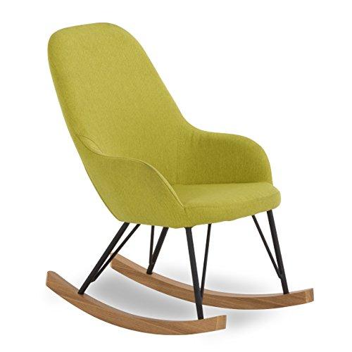 SalesFever Kinder Schaukel-Stuhl aus Stoff mit Armlehnen grün | Bob |Gemütlicher Lounge-Sessel...