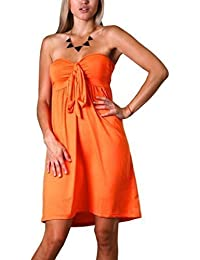 Womens Angela Bandeau Knie Lang Sommer, Urlaubs Kleid, Orange